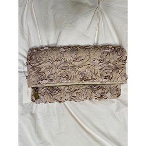 Deux Lux Tan Flower clutch/purse NWT